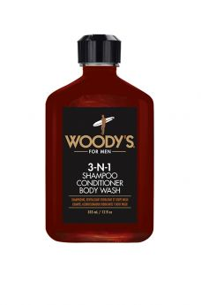 Woody's 3-N-1 Shampoo Conditioner Body Wash, 12 oz